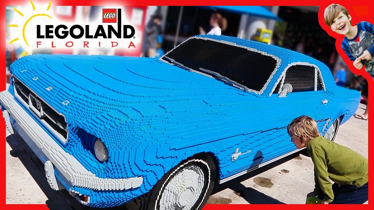life-size lego ford mustang car at legoland florida - youtube