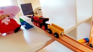 Massive Wooden Mega Block Train Set With Peppa Pig - Toy Train Track 36