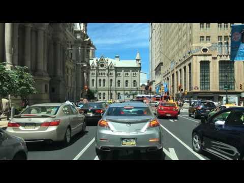 Driving Downtown Broad Street Philadelphia Pennsylvania USA