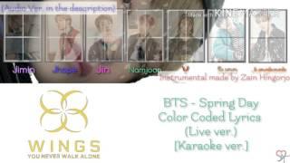 BTS 방탄소년단 Spring day Live Karaoke ver Color Coded Lyrics Instrumental Kpop