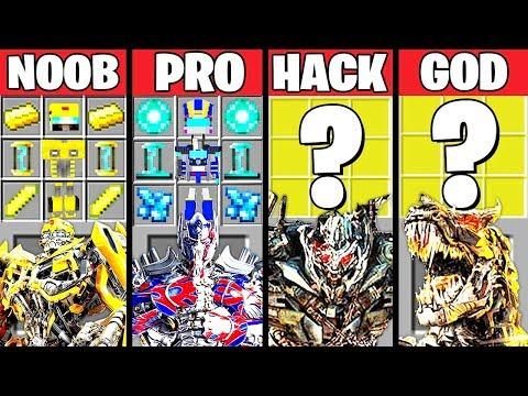 Minecraft Battle: SUPER TRANSFORMERS CRAFTING CHALLENGE - NOOB Vs PRO Vs HACKER Vs GOD ~ Animation