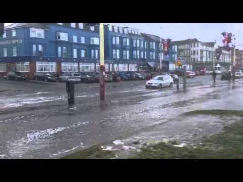 Blackpool seafront high tide storm 3rd January 2014