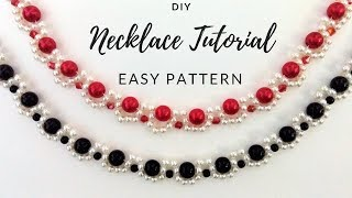 DIY necklace. Elegant jewelry making tutorial. Two beaded necklaces one beading pattern