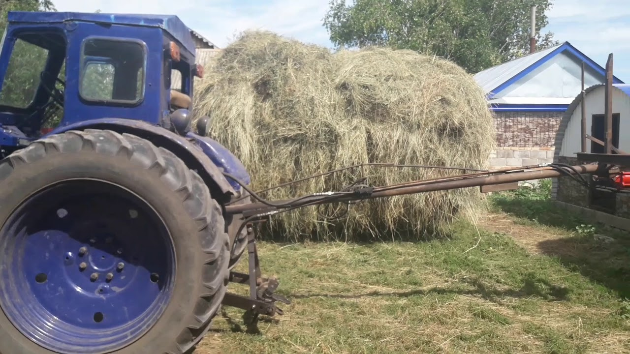 Погрузчик сена самодельный на трактор Т-40