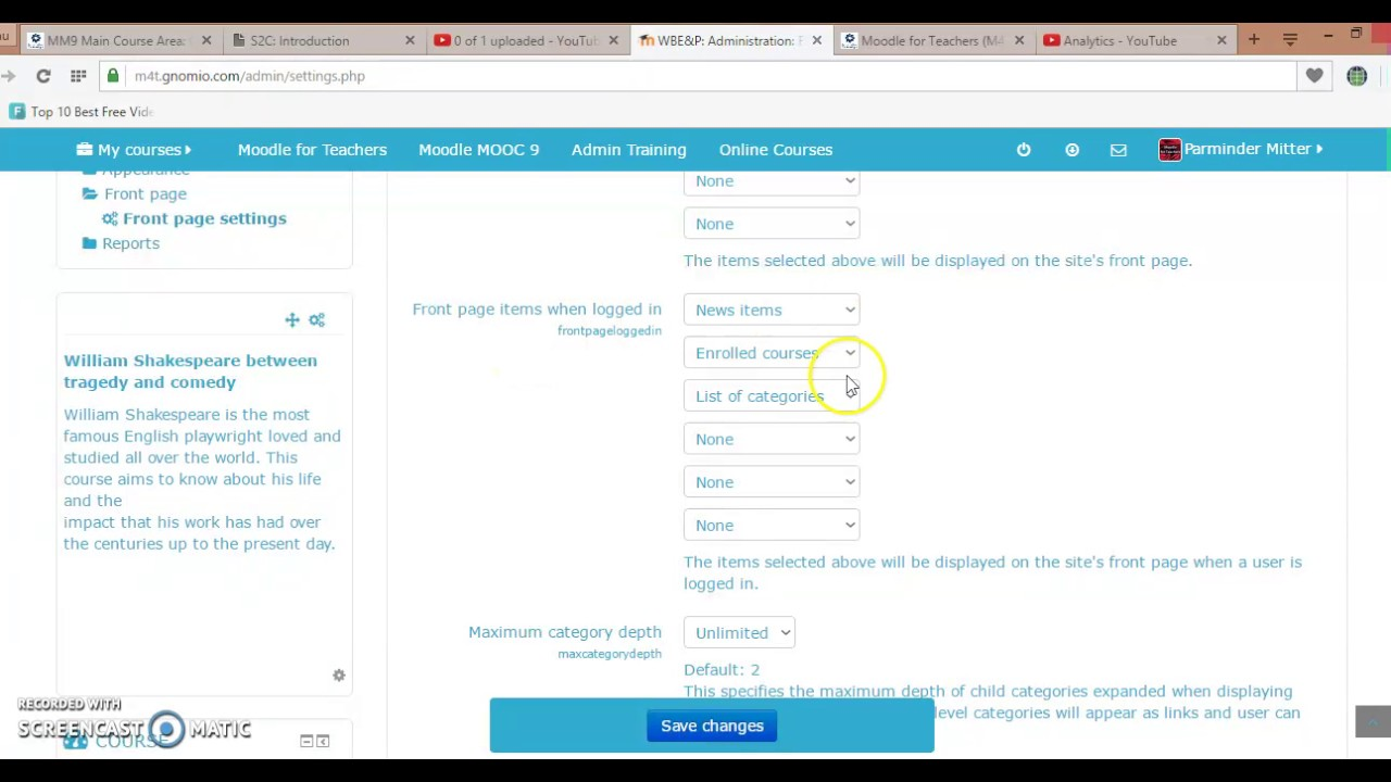 Frontpage setting on Moodle - YouTube on