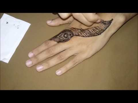 Mehndi Tattoo Peacock Feather : Simple peacock feather youtube