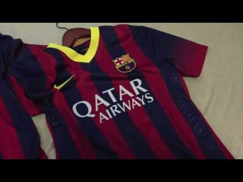 Review and Comparison of 2013-2014 Authentic and Replica FC Barcelona home Jerseys