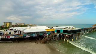 Cocoa Beach Pier Storm Damage Aerial Drone Video