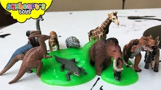 Guess the animals inside yucky SLIME - Mojo Minis Dinosaur and animal toys for kids playtime