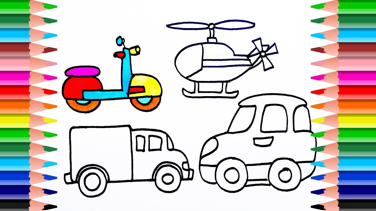 How To Draw Vehicles And Planes Colors Transportation Coloring