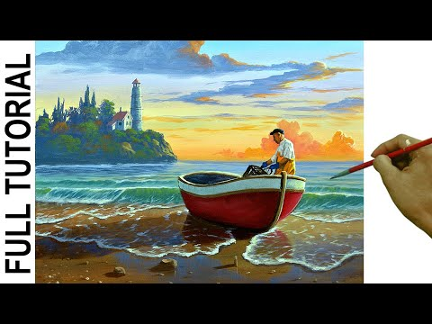 How To Paint Realistic Fisherman On Red Boat In The Beach Using Acrylic