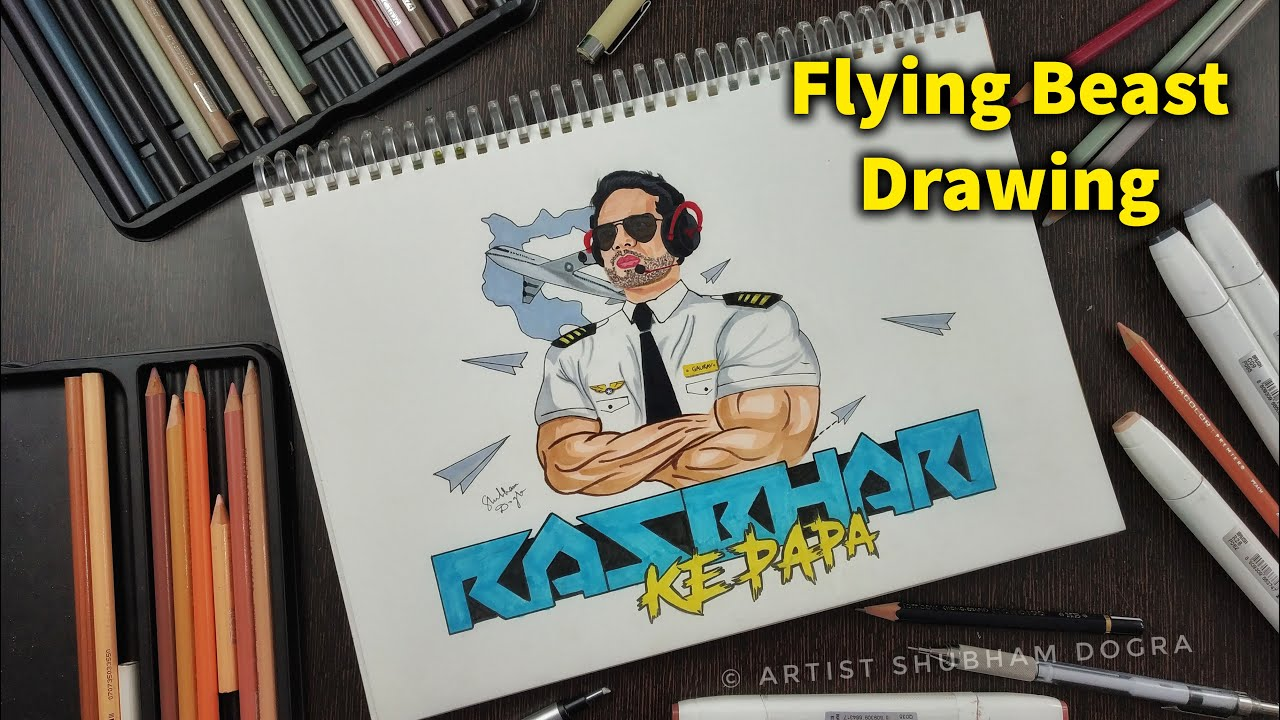 Coloured Drawing of  Rasbhari ke Papa - Flying Beast Gaurav Taneja 🔥 @Rasbhari Ke Papa @Flying Beast