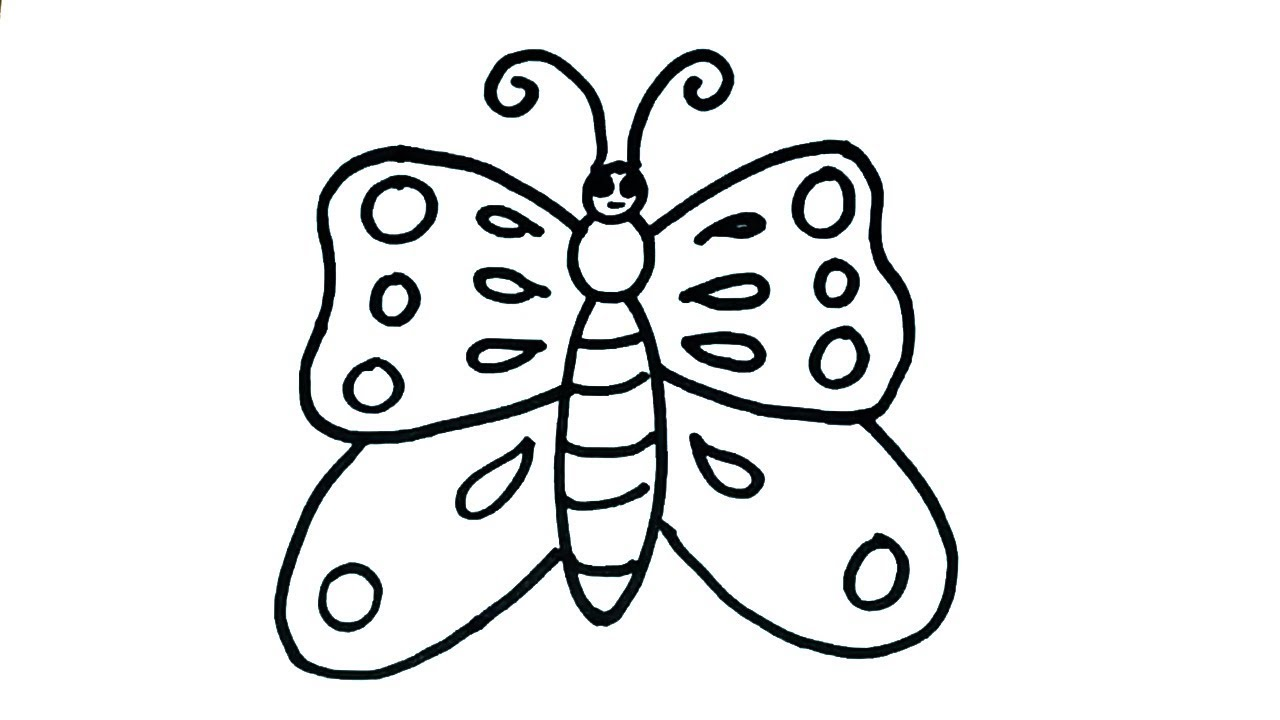 How To Draw Butterfly Easy Butterfly Drawing For Kids Youtube