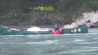 カナディアンカヌーで流水再乗艇の練習.