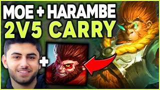 Download WHEN MOE AND HARAMBE (#1 WUKONG WORLD) TEAM UP IN SOLO QUEUE - League of Legends Mp3 and Videos