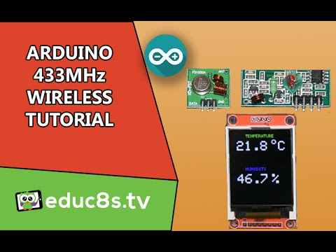 Arduino Tutorial: 433Mhz Wireless modules basic setup and example using DHT22 temperature sensor.