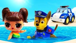 Видео про Куклы ЛОЛ! Щенячий Патруль протягивает лапу помощи. Время быть героем на пляже!