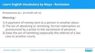 Learn English Vocabulary by Maya - Remission