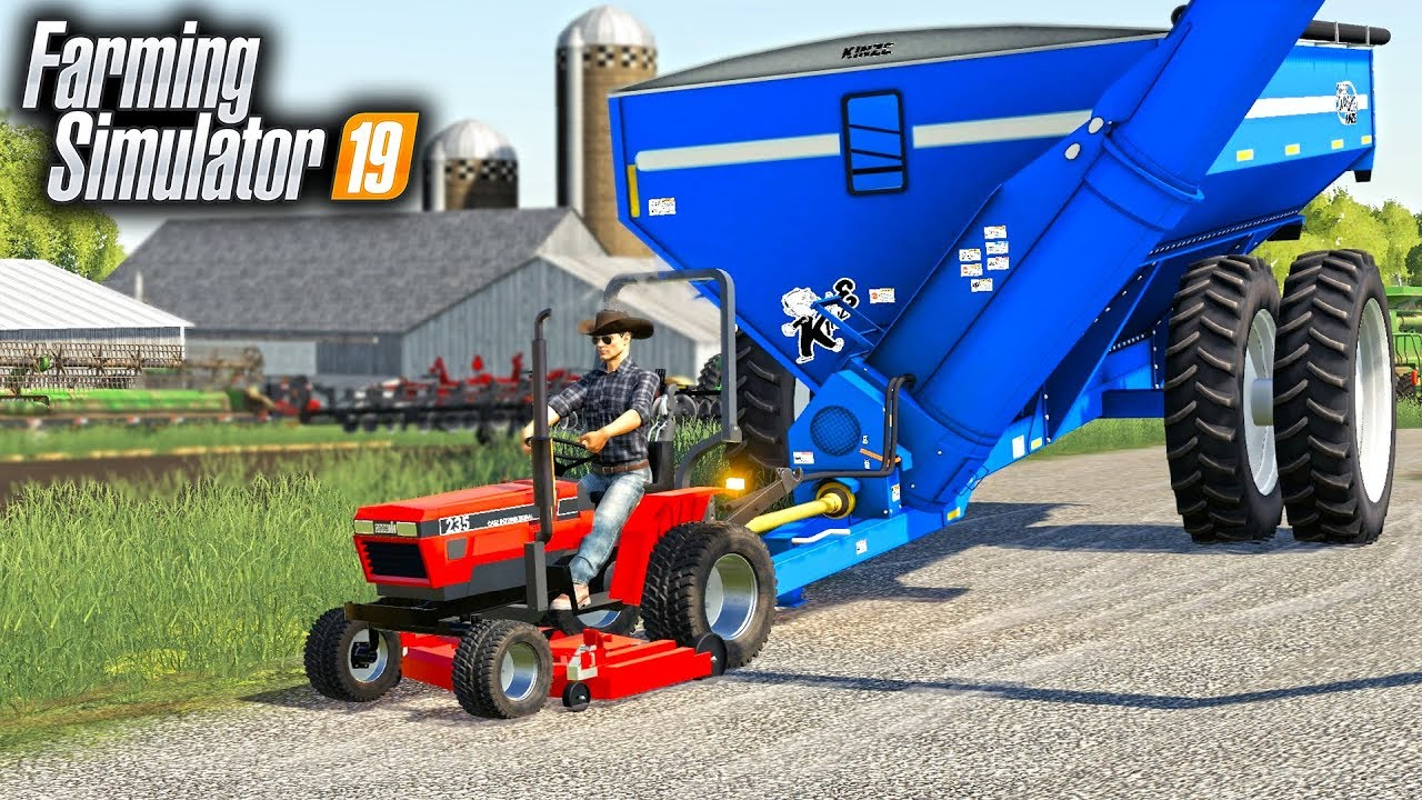 FS19- THE BEAST GARDEN TRACTOR! MOWING LAWN & MOVING GRAIN CARTS! (MR  DO  IT ALL)