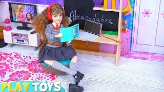 Barbie Girl Doll School Morning Routine Dress Up