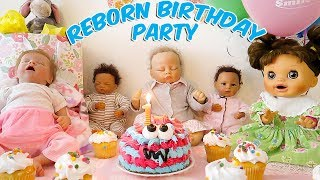 Reborn baby doll first birthday party surprise | sophia turns one
