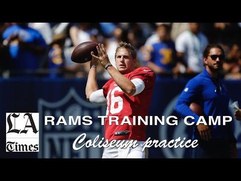 Rams hold training camp practice in the Coliseum