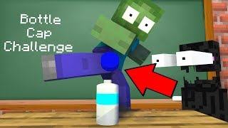 Monster School : Epic BOTTLE FLIP Challenge | BOTTLE CAP - Minecraft Animation