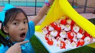 Wendy & Liam Pretend Play Learn To Share W/ Kinder Surprise Egg Toys
