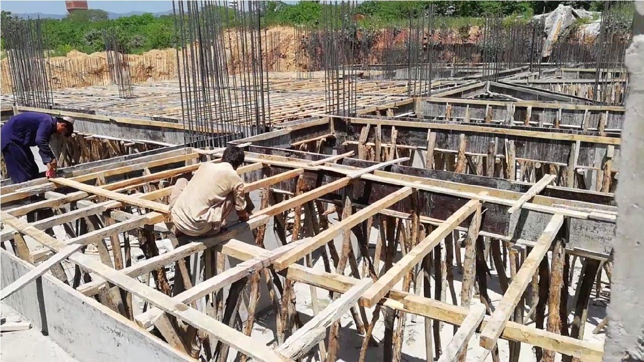 Slabe plywood shuttering battens installation