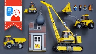 Learning construction vehicles for kids with Lego Demolition crane Dump truck Excavator
