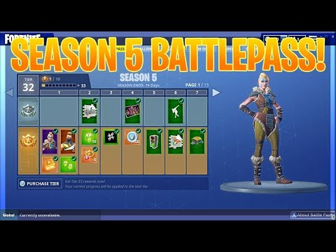 SEASON 5 BATTLEPASS! ALL SKINS, GLIDERS, PICKAXES, AND MORE! (Fortnite Battle Royale)