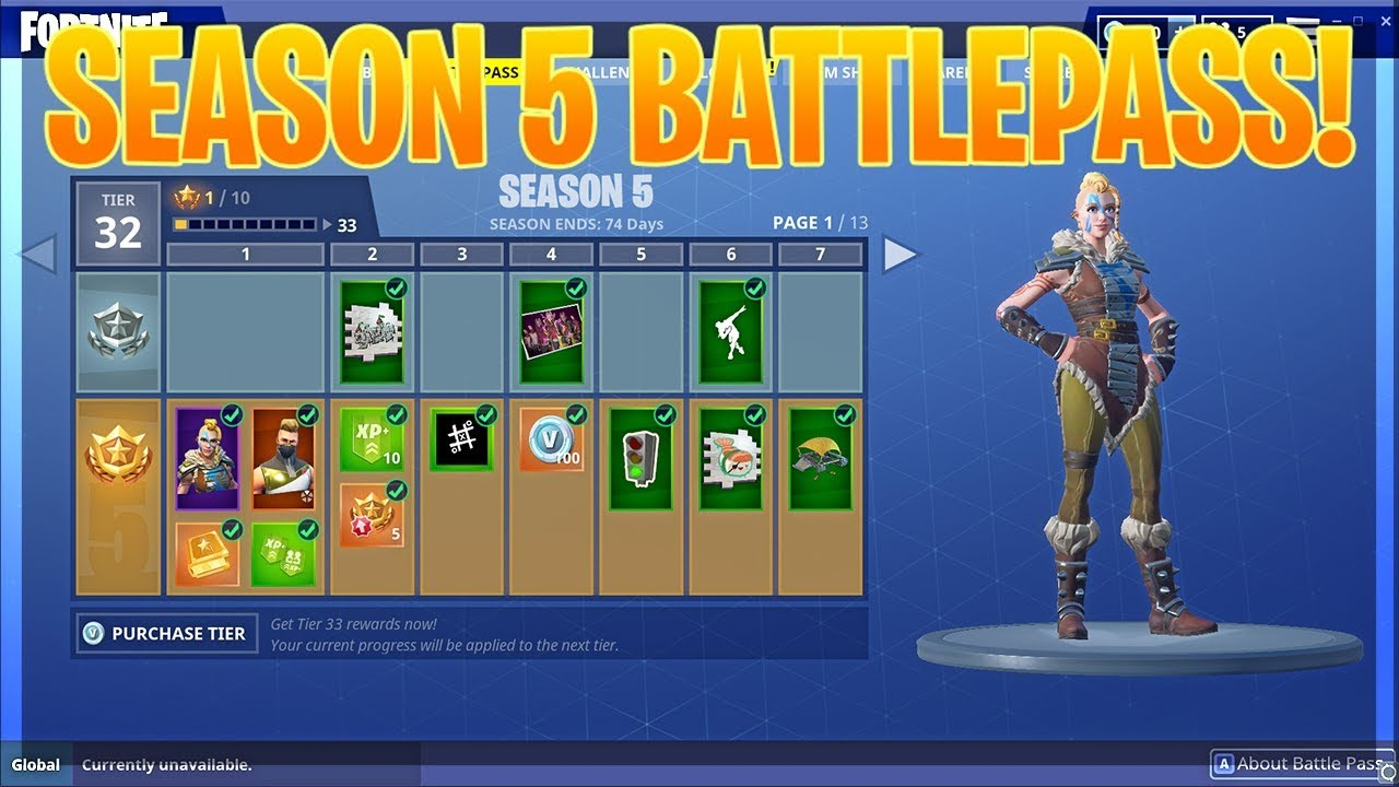 Season 5 Battlepass All Skins Gliders Pickaxes And More