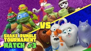 The Secret Life of Pets vs Ninja Turtles Toys Shake Rumble Tourney Match #3 by KIDCITY