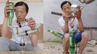 Talented Chinese man shows off incredible bottle balancing skills