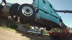 Freightliner deadlift onto lowboy