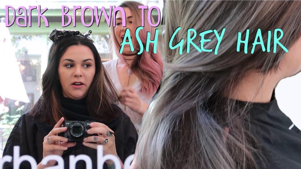 dark brown grey hair