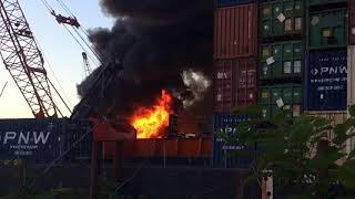 WSB reader video: Barge fire