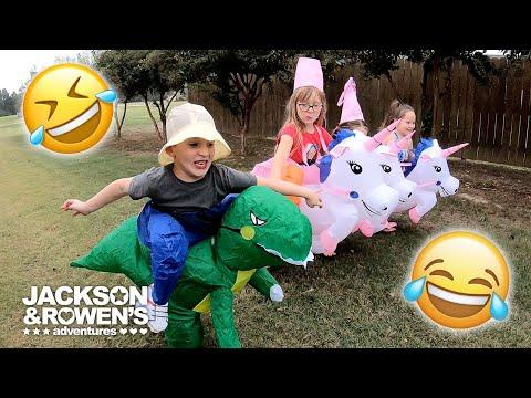 Bad Unicorn Scares Kids! Riding Unicorn, And Riding Dinosaur Costume Race! Who Won?