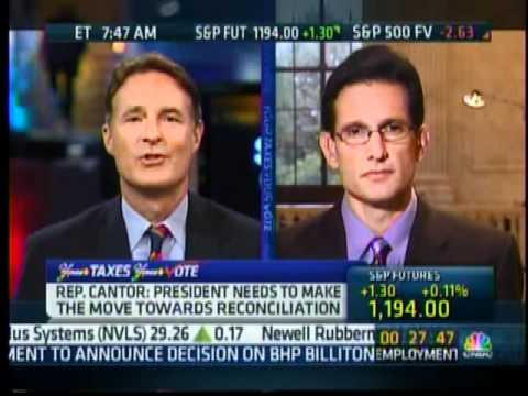 """Eric Cantor Discusses The Rejection Of Obama/Pelosi Agenda On """"Squawk Box"""""""