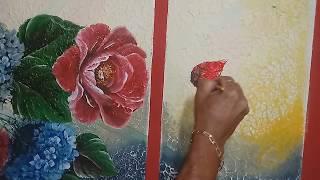 Aprenda a Pintar na Parede Folhas Hortênsias e Rosas