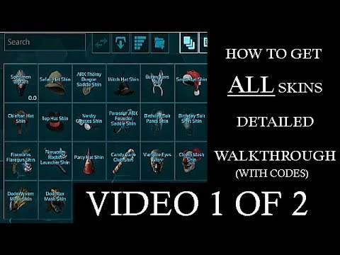 How to get all skins detailed walkthrough with codes video 1 of 2 how to get all skins detailed walkthrough with codes video 1 of 2 ark survival evolved malvernweather Gallery