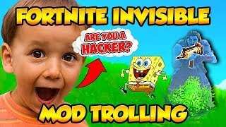 INVISIBLE MOD TROLLING WITH HACKS ON FORTNITE BATTLE ROYALE! (Funny Fortnite Trolling)