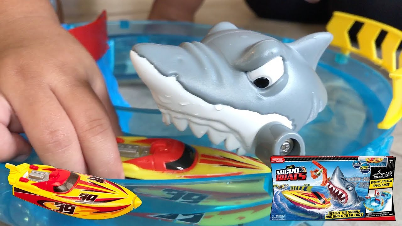 Shark Toys For Boys With Boats : Zuru micro boats racing track playset best shark attack