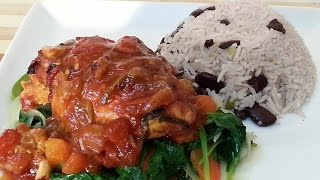 Sunday Oven Baked Chicken Breast Served With Rice & Peas & Spinach