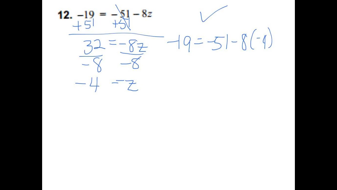 Solving Two Step Equations With Negative