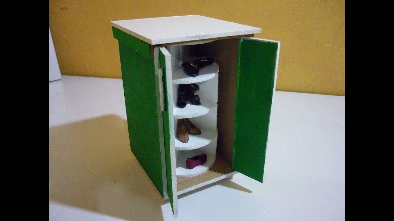 Como hacer un mueble giratorio de zapatos para muecas