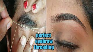 Perfect eyebrow threading technique/painless eyebrow threading/eyebrow threading