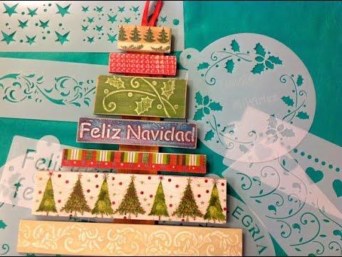 Arbolito de navidad decorar con stenciles milartes - Arbolito de navidad ...