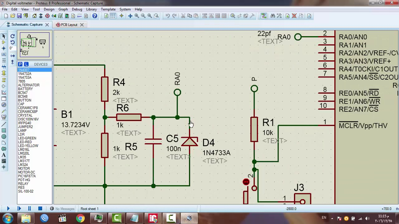 Digital Voltmeter Usin Pic 16f877a Related Image With Circuit