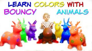 Learn Colors With BOUNCY ANIMALS and Old McDonald NURSERY RHYME Song